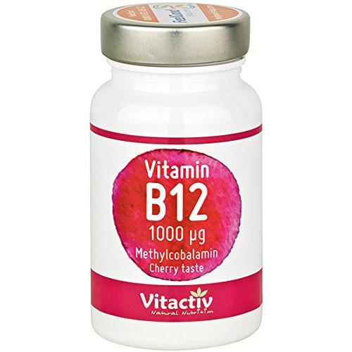 VITAMIN B12 hochdosiert, 1.000 µg, für Energie, Nerven, Immunsystem, gegen Müdigkeit und Erschöpfung etc.*, für Menschen 50+, Vegetarier & Veganer, 100 Kautabletten für bis zu 100 Tage -