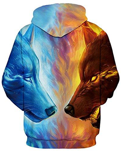AMOMA Damen digitaldruck Kapuzenpullover Tops Unisex Hoodie Pullover Hooded Sweatshirt IceFireWolf
