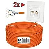 HB-Digital Netzwerkkabel LAN Verlegekabel Cabel 100m cat 7 Kupfer Profi S/FTP PIMF LSZH orange cat. 7 Cat7 AWG 26 + Zwei CAT 6A Netzwerkdosen mit je 2X RJ45 Port Unterputz Weiß Ethernet Netzwerk
