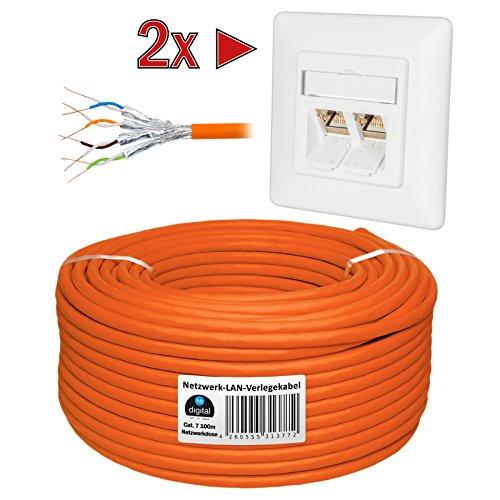 HB Digital Netzwerkkabel LAN Verlegekabel cabel 100m cat 7 Kupfer PROFI S/FTP PIMF LSZH Halogenfrei orange RoHS-compliant cat. 7 Cat7 AWG 26 + ZWEI CAT 6A Netzwerkdosen mit je 2x RJ45 Port Unterputz Weiß Ethernet Netzwerk (Voice-modem Voip)