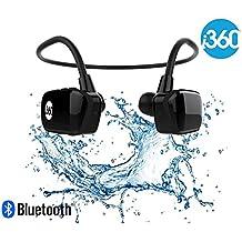 i360 Bluetooth 8GB Reproductor de MP3 a prueba de agua Auriculares Auriculares Auriculares (Edición negra