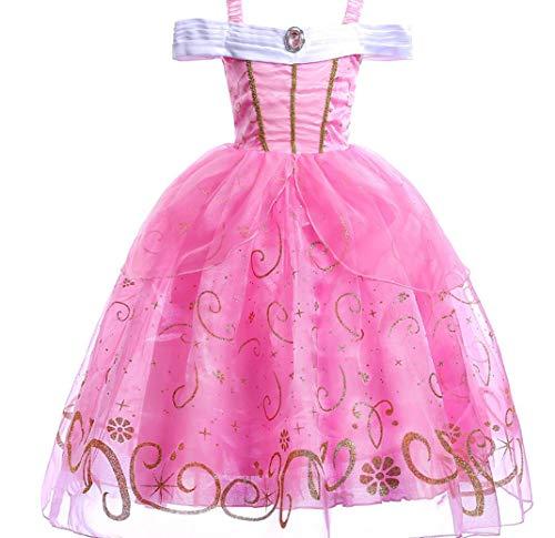 ZYLL Weibliche Prinzessin Kleid Kinder Prinzessin Kleid Kleid Dress Up Prinzessin Dress Up Halloween KostüM Kleid Pink,110CM (Für Kostüm Halloween Belle Kids)