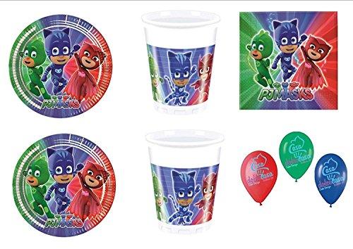 PJ Masks Super pigiamini coordonné décorations fête - Kit N ° 2 CDC- (32, 32 verres, 40 assiettes 40 serviettes)