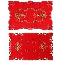 BESTOYARD 2 unids Mantel de Navidad con Jingle Bell y Velas patrón xams Decoraciones de Mesa