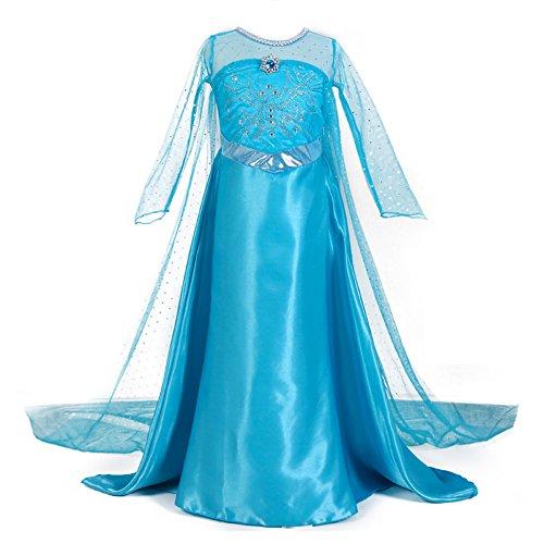Kinder Kostüm Schnee Prinzessin - Le SSara Weihnachten Cosplay Mädchen Lange Kap Schnee Prinzessin Kleid Kostüme (110, A-blau)