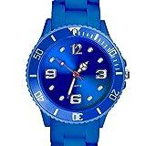 Taffstyle Farbige Sportuhr Armbanduhr Silikon Sport Watch Damen Herren Kinder Analog Quarz Uhr 39mm Blau