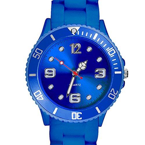 Taffstyle Farbige Sportuhr Armbanduhr Silikon Sport Watch Damen Herren Kinder Analog Quarz Uhr 34mm Pink