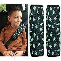 HECKBO Auto Gurtschutz Sicherheitsgurt Schulterpolster Schulterkissen Autositze Gurtschoner Gurtpolster für Kinder Jungen/Jungs mit Dino Dinosaurier