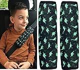 2x Auto Gurtschutz Sicherheitsgurt Schulterpolster Schulterkissen Autositze Gurtpolster für Kinder Jungen/Jungs mit Dino Dinosaurier - von HECKBO
