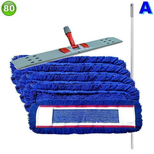 Set mit 5 Wischmopp Wischmop Acryl Industriequalität waschbar in 40 50 60 80 cm (80 cm)