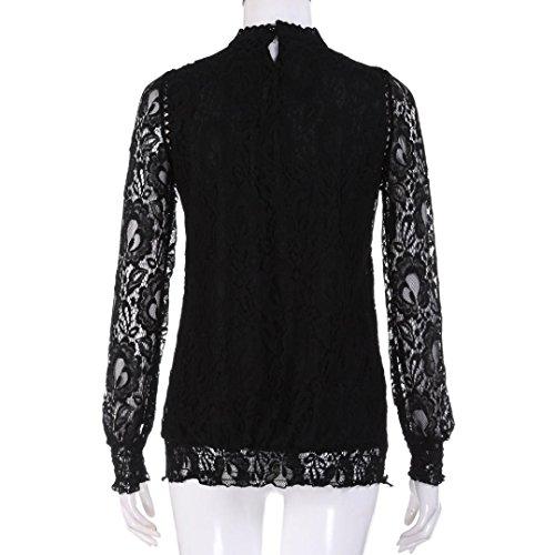 AIMEE7 Femmes Solide à Manches Longues O Cou Dentelle Casual Tops Blouse T-Shirts Noir