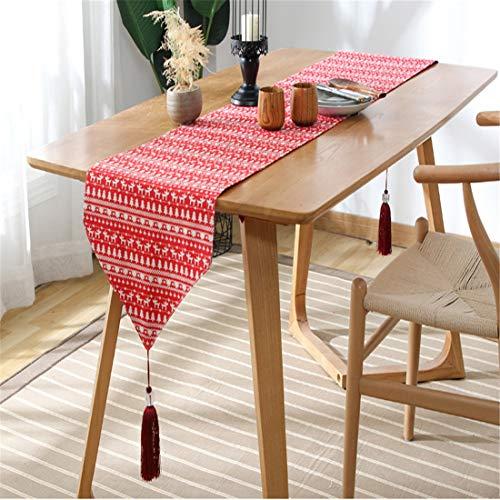 Alavo Tabelle Flag Nordic Art Weihnachtsdekoration Cloth Baumwolle Leinen Art Konsolentisch Quaste Abdeckung Cloth,Rot,33 * 200cm