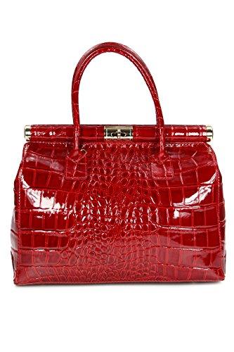 """Belli \""""The Bag XL Leder Henkeltasche Handtasche Damen Ledertasche Umhängetasche - 34x25x16 cm (B x H x T) (Bordeaux rot Lack)"""