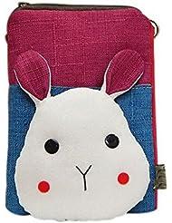 Lovely Canvas Phone Package Version coréenne Mini Bag Purple Patchwork Rabbit Head
