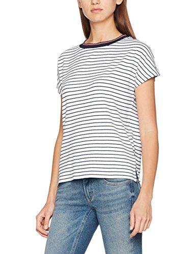 Hilfiger Denim Damen T-Shirt Thdw Stripe Bn Knit S/S 21, Mehrfarbig (Bright White/ Dress Blues), Large (Shirt Stripe Casual)