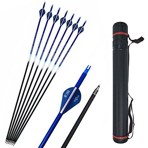 SHARROW 12pcs Flechas de Carbono 30 Pulgadas con Flecha Carcaj Spine 500 para Arco Compuesto Recurvo Flechas de Caza (Azul)