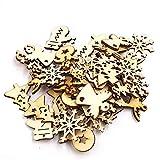 yimosecoxiang Weihnachtsbaum, Schneemann, Schneeflocke, zum Aufhängen, Holz, Weihnachtsdekoration, zufälliger Stil, 50 Stück Random Style