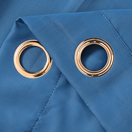 Deconovo Verdunkelungsgardinen mit Ösen Vorhang Blickdicht Ösenvorhang Blickdicht 245×140 cm Blau 2er set - 4