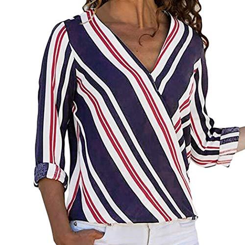 Oliviavan,Frauen Mode Langarm Multicolor Gestreifte Unregelmäßige Bluse Tops -