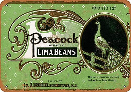 ABLERTRADE Metallschild Pfau Lima Bohnen Vintage Stil Kaffeehäuser oder Zuhause, 20,3 x 30,5 cm