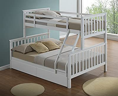 Modern white triple bunk bed with drawers - Ladder - 3ft + 4ft6 - Can be split into 2