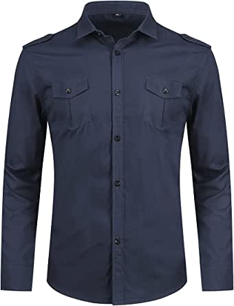 Mens Long Sleeve Dress Shirt Slim Fit Button Down Military Shirts Army Style Casual Cargo Shirt