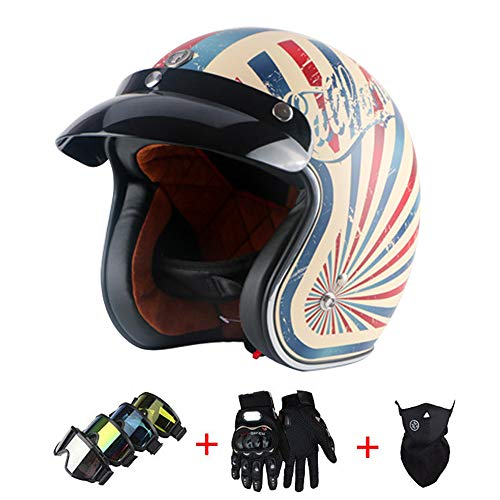Motorcycle Vintage Helmet Open Face Fresh Breathable Leather Goggles Harley Half Face Helmet Adult Hard Hat Scooter Protective Gear Men and Women,STYLEG,XXL(24.1