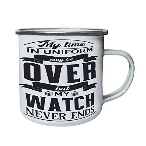 Meine Zeit in Uniform könnte vorbei sein Retro, Zinn, Emaille 10oz/280ml Becher Tasse w278e (Uniformen Zinn)
