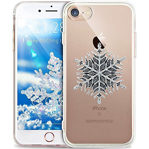 Cover iPhone 7 Plus,Custodia iPhone 7 Plus,ikasus® Crystal Clear TPU con Cervi di fiocco di neve di natale bianco Christmas Snowflake per iPhone 7 Plus Custodia Cover [Crystal TPU] [Shock-Absorption]  Fiocco di neve nero