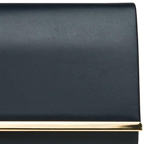 CASPAR TA415 Donna Pochette con Decorazione in Metallo Blu scuro