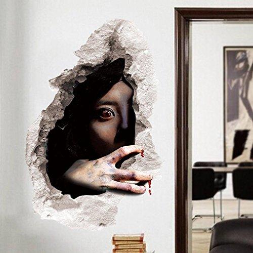 Halloween Aufkleber, HARRYSTORE 3D Effekte Happy Halloween Room Wandaufkleber Horror Ghost Pattern Abnehmbare Abziehbild Mural Decor 60cm*45cm (Mehrfarbig #1)