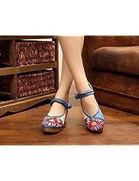 Fuxitoggo Zapatos Bordados, Lino, Suela de tendón, Estilo étnico, Zapatos Femeninos aumentados, Moda, cómodo,…