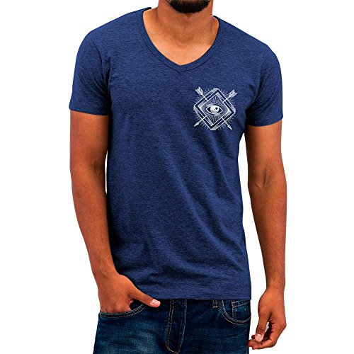 VIENTO Eye Arrow Herren T-shirt mit V-Ausschnitt (Blau, XL) (Shirt Arrow Herren)