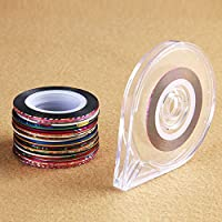 Anself 30 Rolls Mixed Colors Nail-Striping Art Tape Line Sticker DIY Decal with 1Pc Free Tape Case Holder Tool