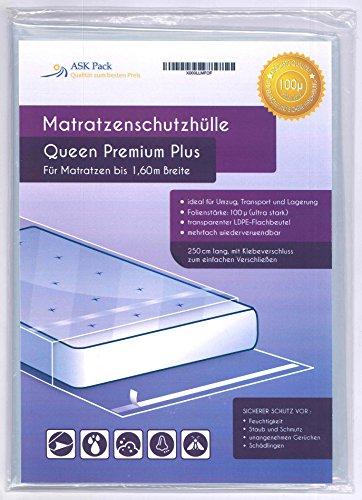 Housse De Protection Matelas Queen Premium pour matelas 160cm de large avec fermeture adhésive - ULTRA solide 100µ, EXTRA long 250cm