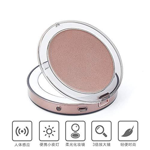 JJLEzl beleuchteter Kosmetikspiegel mit Powerbank 2 Spiegelflächen automatische Beleuchtung@Roségold