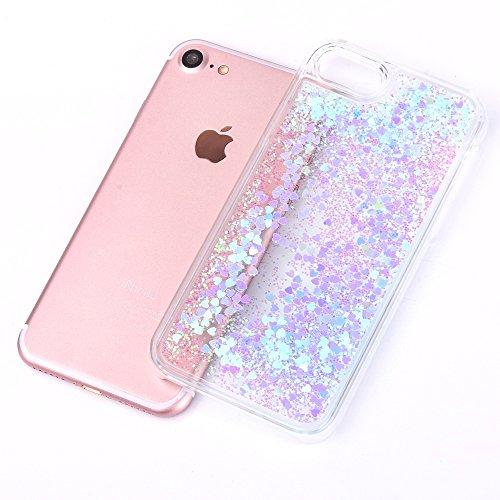Chiaro Crystal Protective Case per Apple iPhone 7Plus 5.5, CLTPY Particolari Duro Difficile Plastica Doppia Copertina Fashion Luminosa Bello Tough Semplice Shell con Amore Romantico Cuori e Glitter P Azzurro
