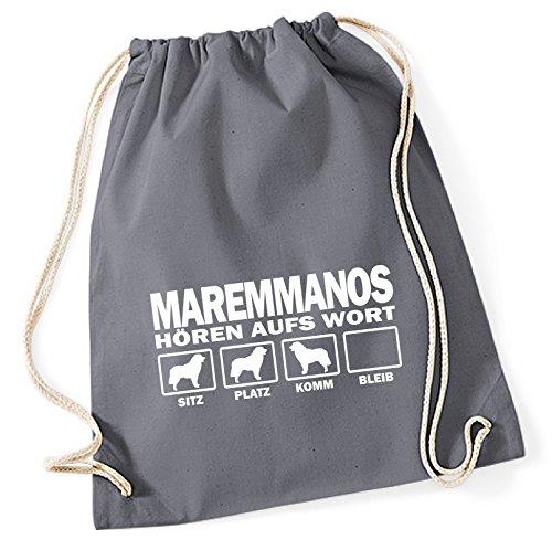 Turnbeutel - MAREMMANO ABRUZZESE Cane da Pastore Schäferhund Italien - HÖREN AUFS WORT Baumwoll Tasche Beutel Siviwonder grau