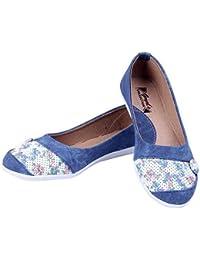 Goyal Blue Denim Flower Print Bellies