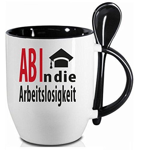 Tasse zum Abitur * Arbeitslosigkeit * Schwarzer Löffelbecher mit Keramiklöffel