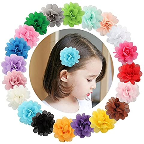 bluemixc 20PCS Multicolor Chiffon Blumen Blütenblatt Haar Clip Schleife Clip Haarspangen Zubehör Alligator Clip für Kids Baby Mädchen