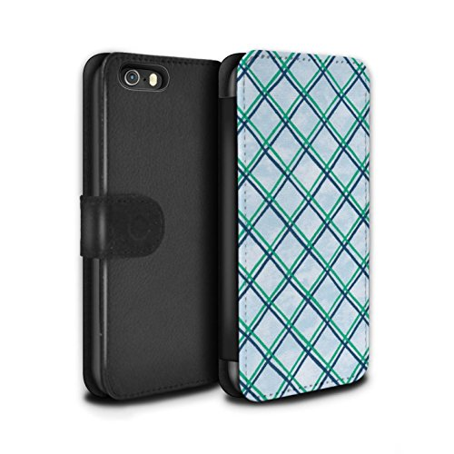 Stuff4 Coque/Etui/Housse Cuir PU Case/Cover pour Apple iPhone SE / Pack (15 pcs) Design / Motif Entrecroisé Collection Vert/Bleu