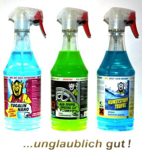 Tuga Profi Auto Putz 3-er Set Alu-Teufel Spezial, Kunststoffteufel,Tugalin Nano Glasreiniger