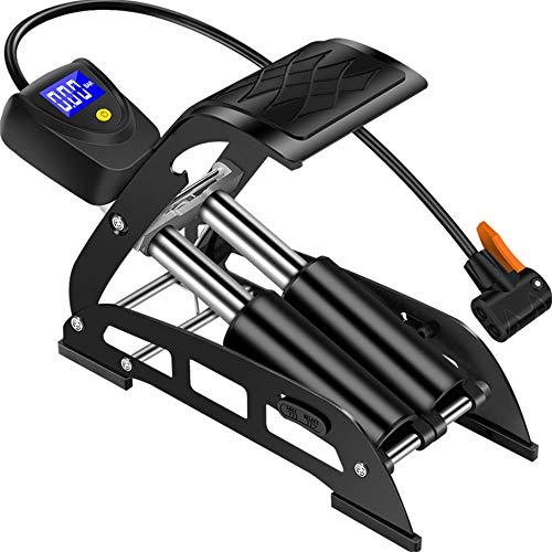 Yzibei Pompa ad Aria Portatile Pompa Multifunzione per Bici da Pedale, Compatibile con Presta e Schrader Valve, Digital Pompa per Vuoto a Pavimento per Auto, MTB Bicicletta, Calcio