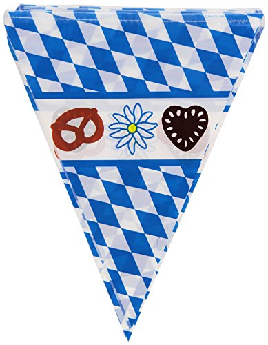 Wimpel: Wimpelkette, Bayernwimpel mit Oktoberfestmotiv, 2,70 Meter x 22 cm