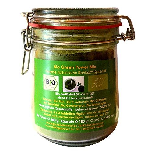250 g Bio Green Vital Mix Pulver aus je 25 % Bio Gerstengras, Bio Weizengras, Bio Chlorella, Bio Spirulina, geprüfte Rohkost Premium Qualität im Bügelglas