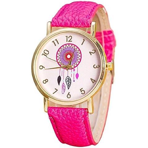 Vovotrade® Dreamcatcher fascia di cuoio del modello al quarzo moda orologio da polso Rosa caldo - Rosa Dreamcatcher