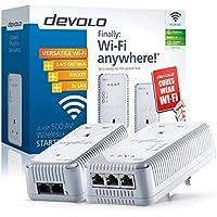 devolo dLAN 500 AV Wireless+ Powerline Starter Kit (500 Mbps via Power Line, 300 Mbps Wi-Fi, 2 x PLC Homeplug Adapter, 3 x LAN Ports, WiFi Booster, Wireless Range Extender, whole home wifi) - White