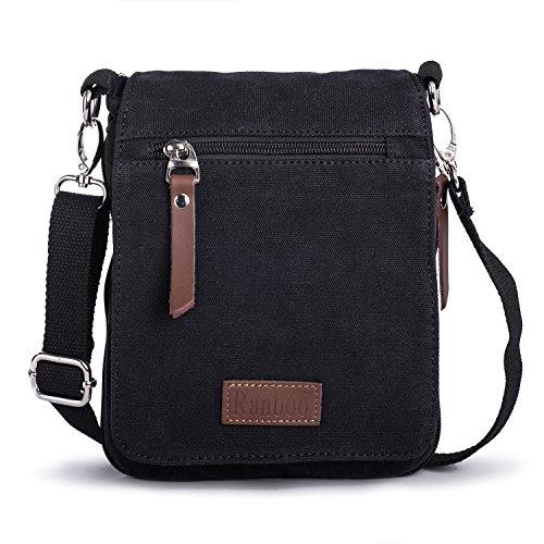 Kleine Herrentasche, Hengwin Mini Schultertasche Umhängetasche Messenger Bag Schulter Reise Tasche auch mit Gürtel Schleife, Passt Für iPad Mini, Canvas, Schwarz -