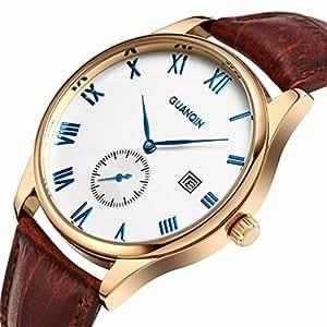 downj–Marca Casual quartz-watch Ultra Sottile Business Orologio impermeabile cinturino in pelle orologio da polso con segno blu